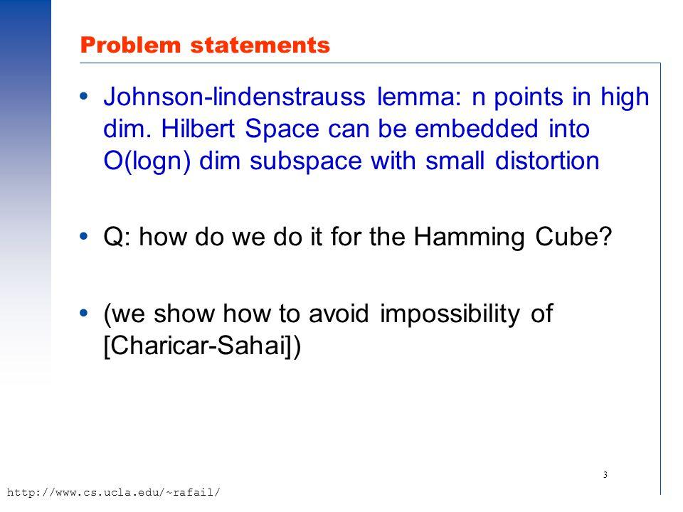 14 http://www.cs.ucla.edu/~rafail/ Main technique  First, as a communication game  Second, interpreted as a dimension reduction