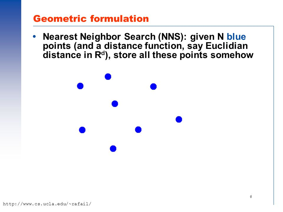 6 http://www.cs.ucla.edu/~rafail/ Geometric formulation  Nearest Neighbor Search (NNS): given N blue points (and a distance function, say Euclidian distance in R d ), store all these points somehow