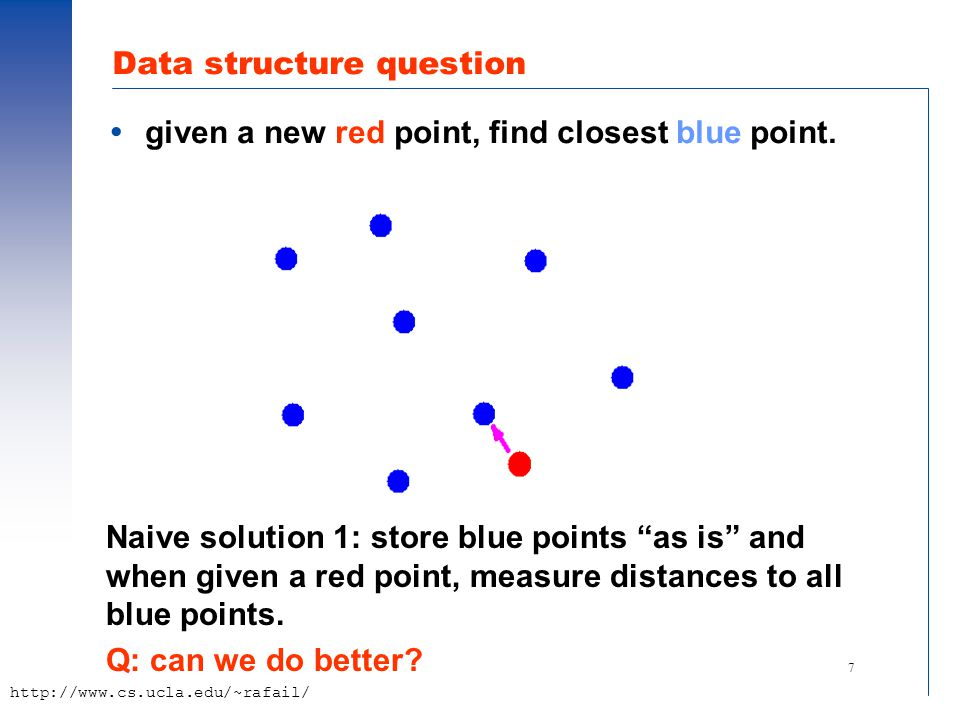 "7 http://www.cs.ucla.edu/~rafail/ Data structure question  given a new red point, find closest blue point. Naive solution 1: store blue points ""as is"