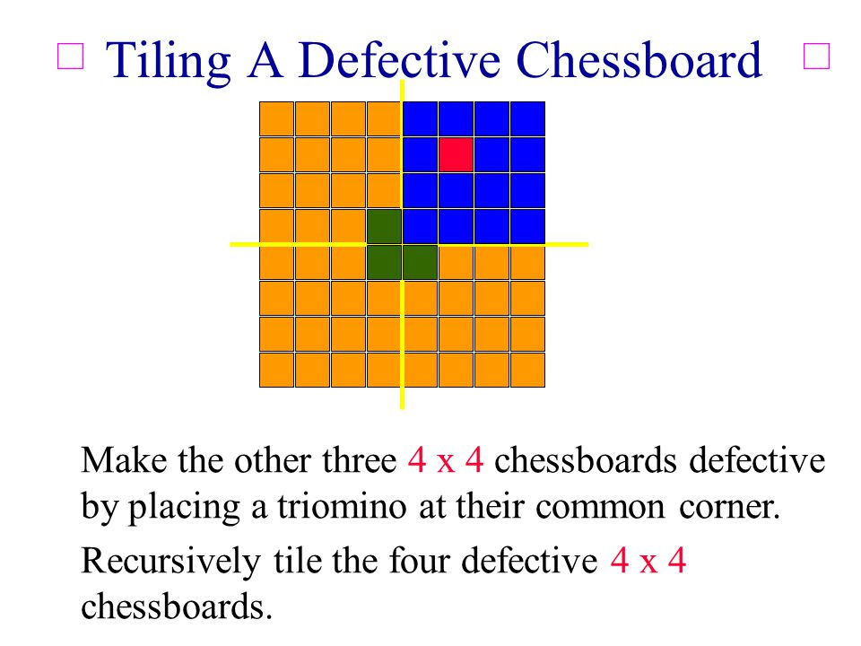 Tiling A Defective Chessboard Make the other three 4 x 4 chessboards defective by placing a triomino at their common corner.