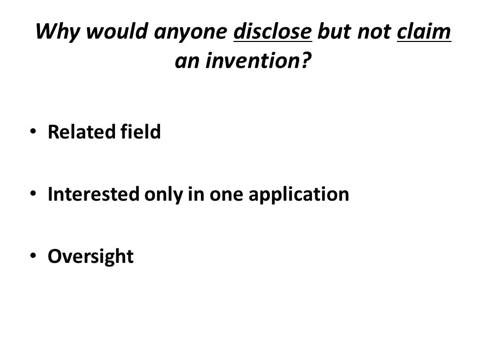 Related field Interested only in one application Oversight