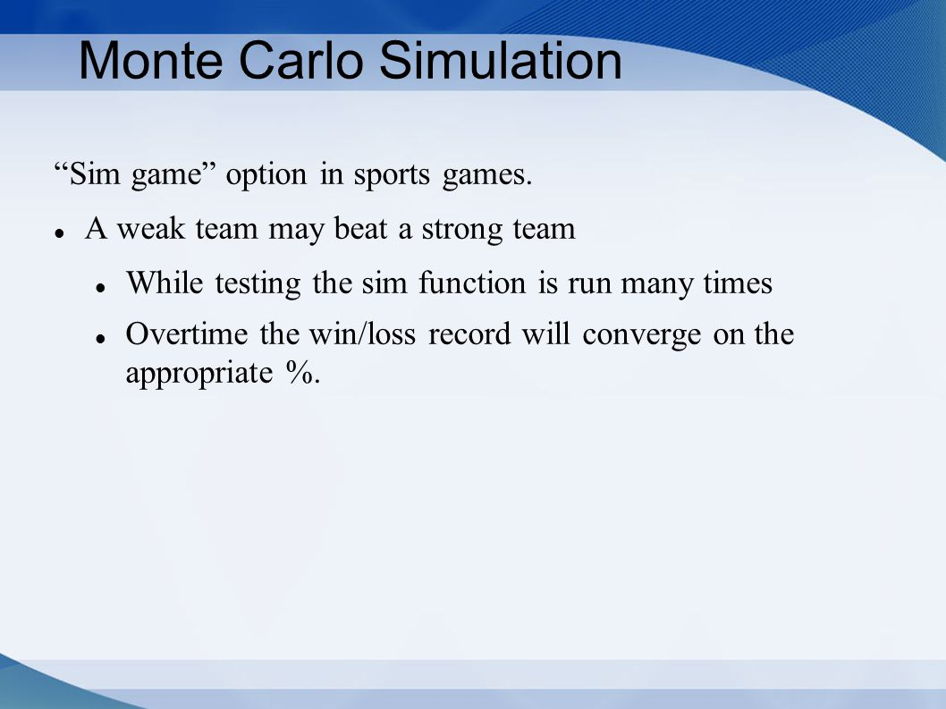 Monte Carlo Simulation Sim game option in sports games.
