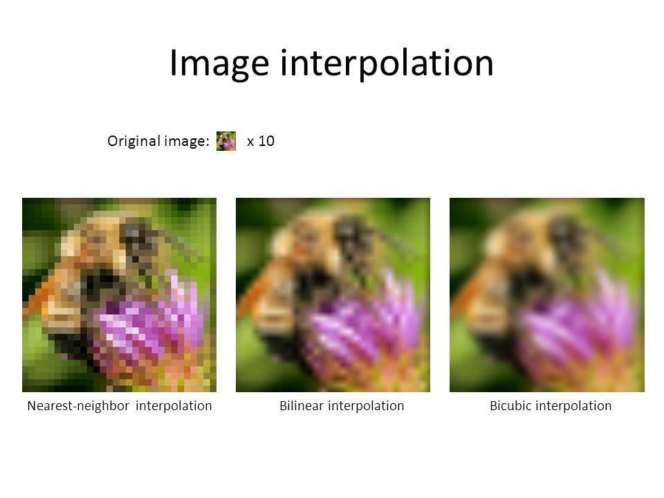 Image interpolation Nearest-neighbor interpolationBilinear interpolationBicubic interpolation Original image: x 10
