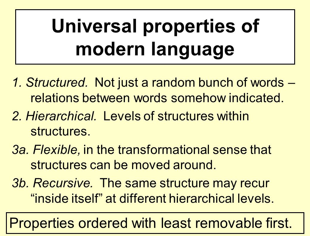 Universal properties of modern language 1. Structured.