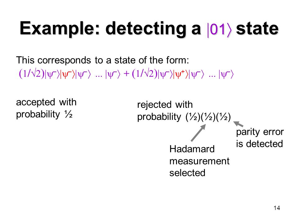 14 Example: detecting a  01  state This corresponds to a state of the form: ( 1 /  2 )  –  –  – ...