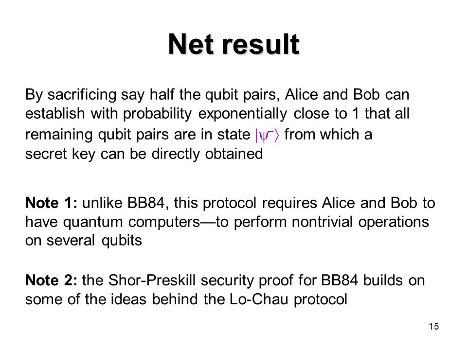15 Net result By sacrificing say half the qubit pairs, Alice and Bob can establish with probability exponentially close to 1 that all remaining qubit pairs are in state  –  from which a secret key can be directly obtained Note 2: the Shor-Preskill security proof for BB84 builds on some of the ideas behind the Lo-Chau protocol Note 1: unlike BB84, this protocol requires Alice and Bob to have quantum computers—to perform nontrivial operations on several qubits