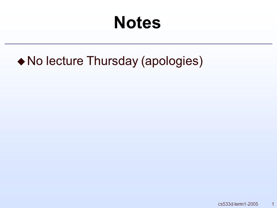 1cs533d-term1-2005 Notes  No lecture Thursday (apologies)