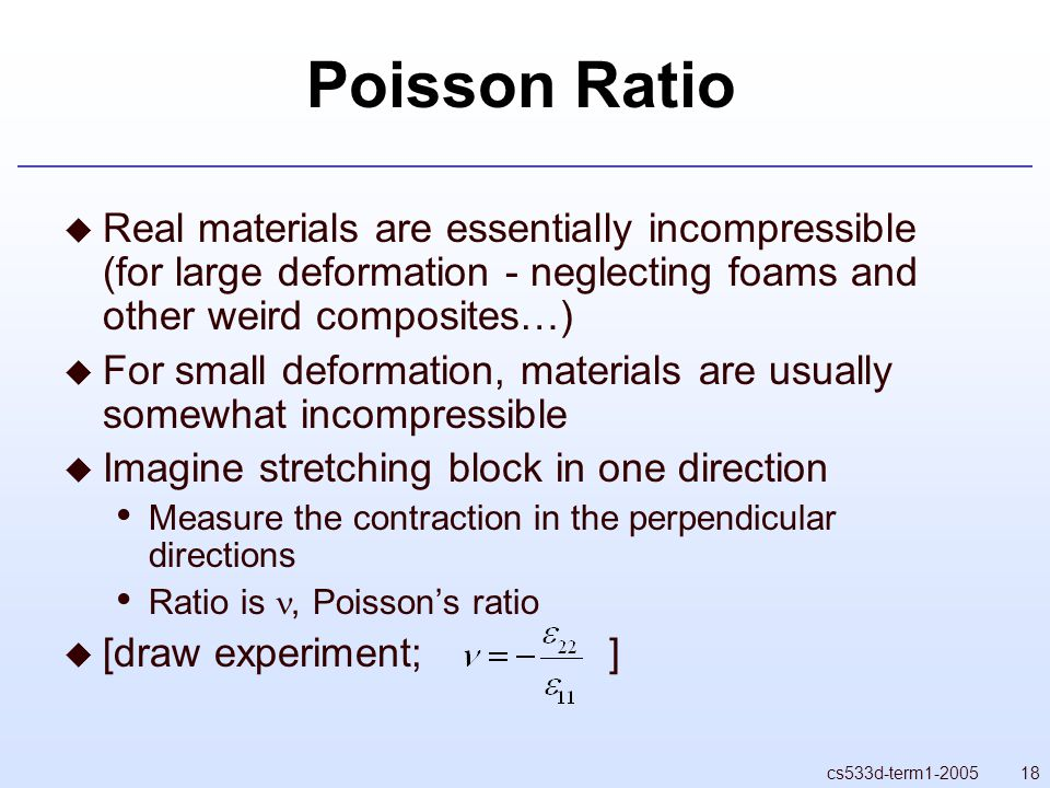 18cs533d-term1-2005 Poisson Ratio  Real materials are essentially incompressible (for large deformation - neglecting foams and other weird composites…)  For small deformation, materials are usually somewhat incompressible  Imagine stretching block in one direction Measure the contraction in the perpendicular directions Ratio is, Poisson's ratio  [draw experiment; ]