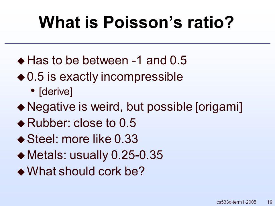 19cs533d-term1-2005 What is Poisson's ratio.