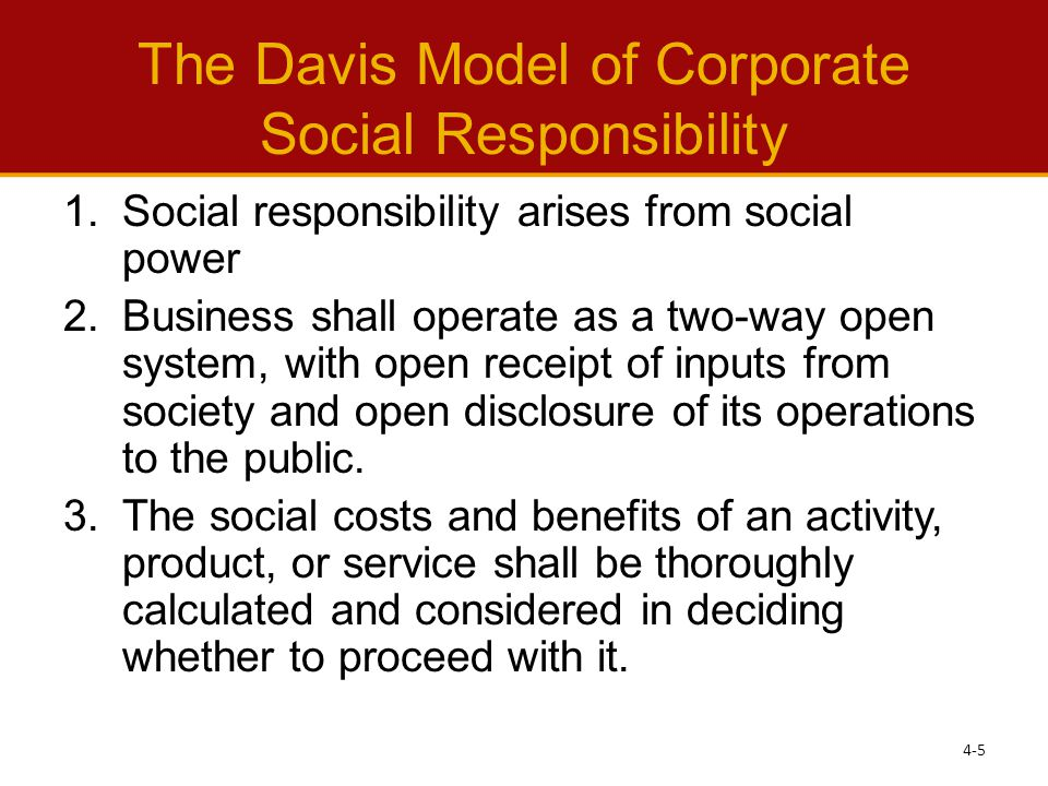 The Davis Model of Corporate Social Responsibility 1.Social responsibility arises from social power 2.Business shall operate as a two-way open system, with open receipt of inputs from society and open disclosure of its operations to the public.
