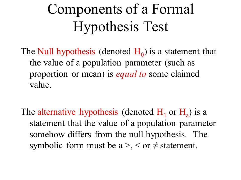 Components of a Formal Hypothesis Test The Null hypothesis (denoted H 0 ) is a statement that the value of a population parameter (such as proportion or mean) is equal to some claimed value.