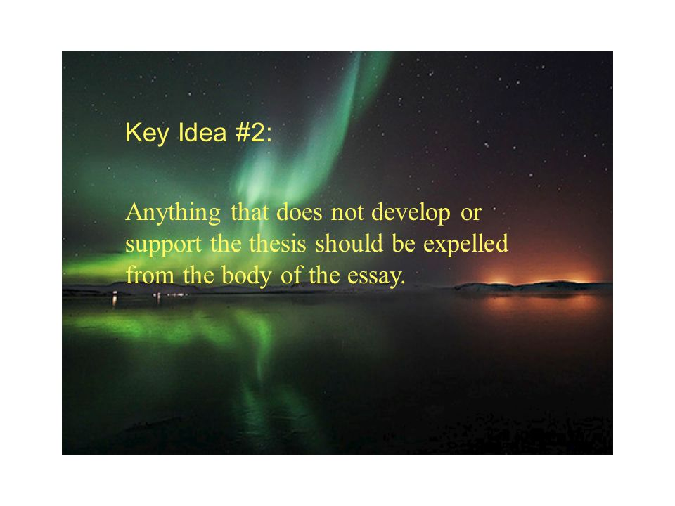 Key Idea #2: Anything that does not develop or support the thesis should be expelled from the body of the essay.