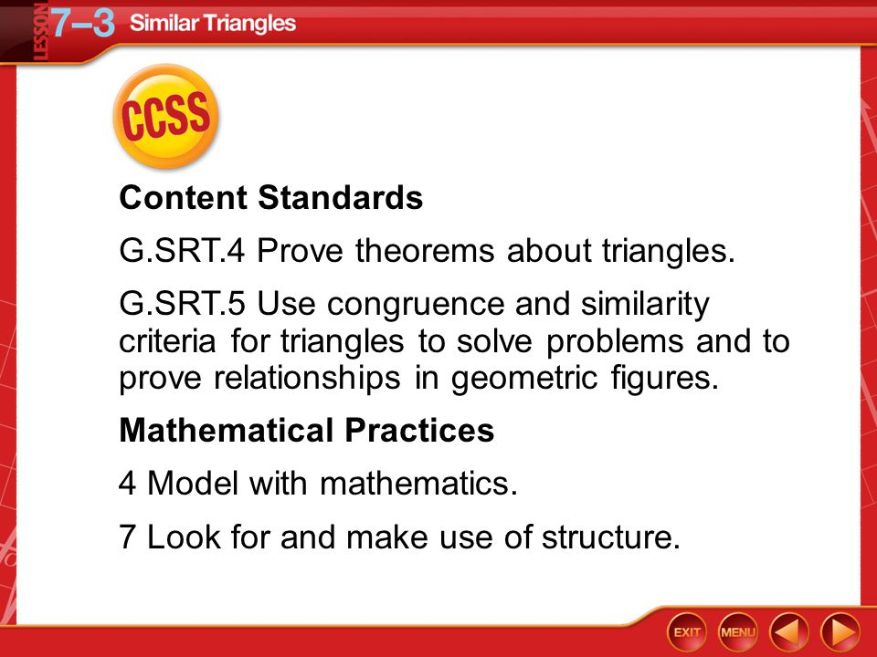 Then/Now You used the AAS, SSS, and SAS Congruence Theorems to prove triangles congruent.