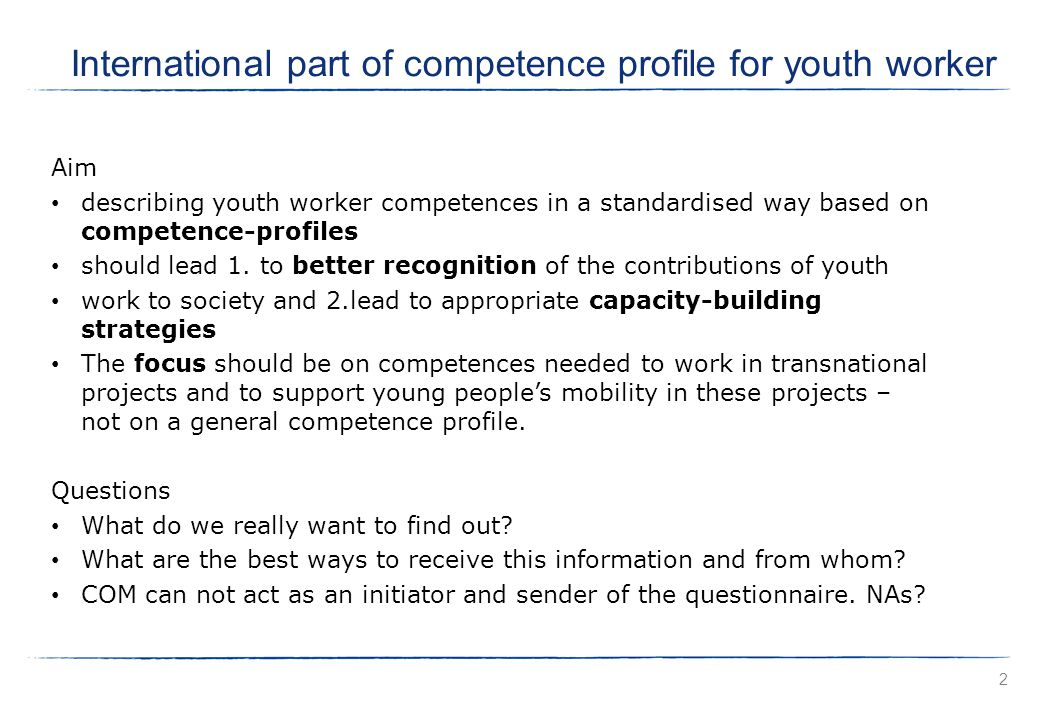 Aim describing youth worker competences in a standardised way based on competence-profiles should lead 1.