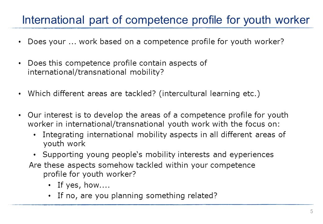 Does your... work based on a competence profile for youth worker.