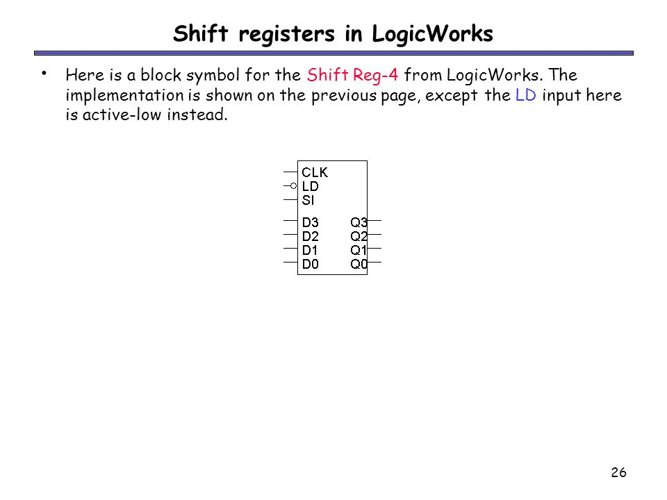 26 Shift registers in LogicWorks Here is a block symbol for the Shift Reg-4 from LogicWorks.