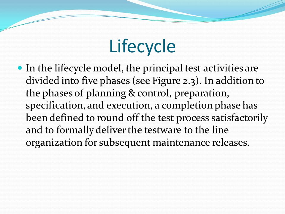 Lifecycle In the lifecycle model, the principal test activities are divided into five phases (see Figure 2.3).