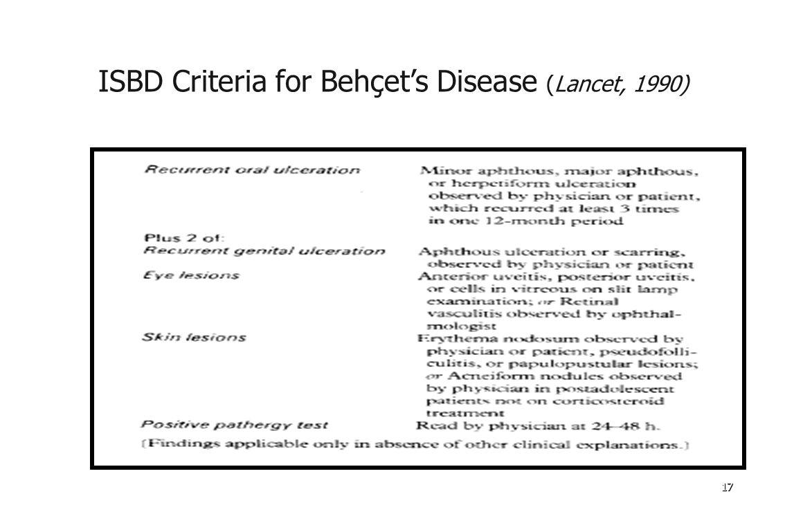 171717 ISBD Criteria for Behçet's Disease (Lancet, 1990)
