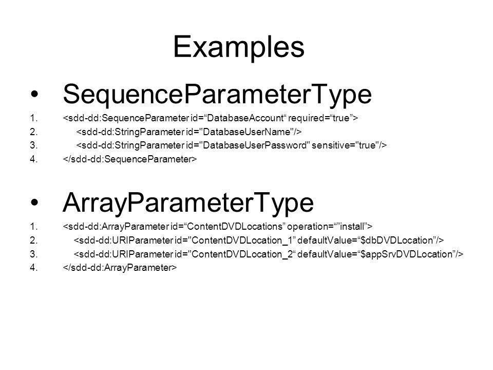 Examples SequenceParameterType 1. 2. 3. 4. ArrayParameterType 1. 2. 3. 4.