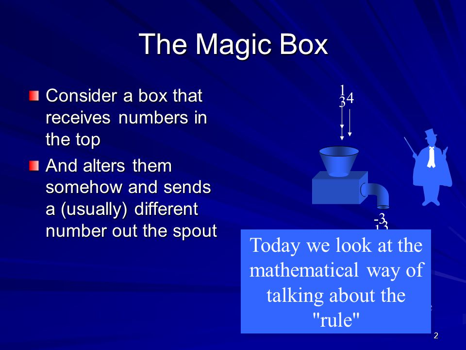 2 The Magic Box Consider a box that receives numbers in the top And alters them somehow and sends a (usually) different number out the spout For each
