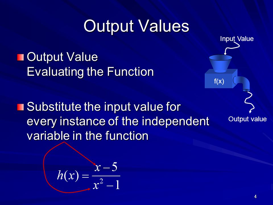4 Output Values Output Value Evaluating the Function Substitute the input value for every instance of the independent variable in the function Input V