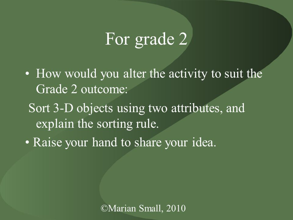 ©Marian Small, 2010 For grade 2 How would you alter the activity to suit the Grade 2 outcome: Sort 3-D objects using two attributes, and explain the sorting rule.