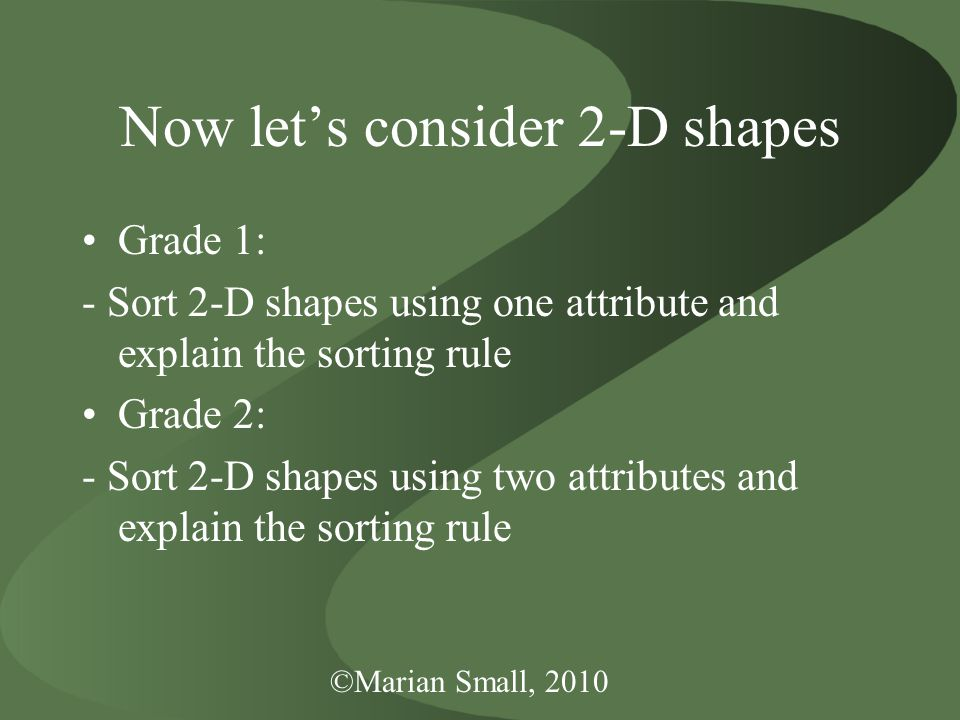 ©Marian Small, 2010 Now let's consider 2-D shapes Grade 1: - Sort 2-D shapes using one attribute and explain the sorting rule Grade 2: - Sort 2-D shapes using two attributes and explain the sorting rule