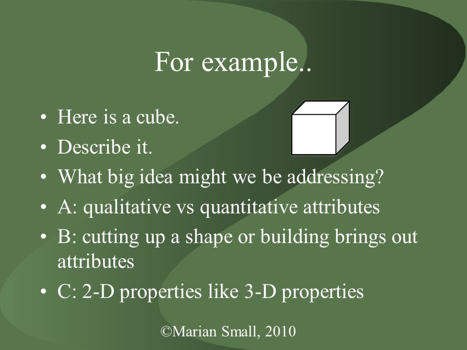 For example.. Here is a cube. Describe it. What big idea might we be addressing.