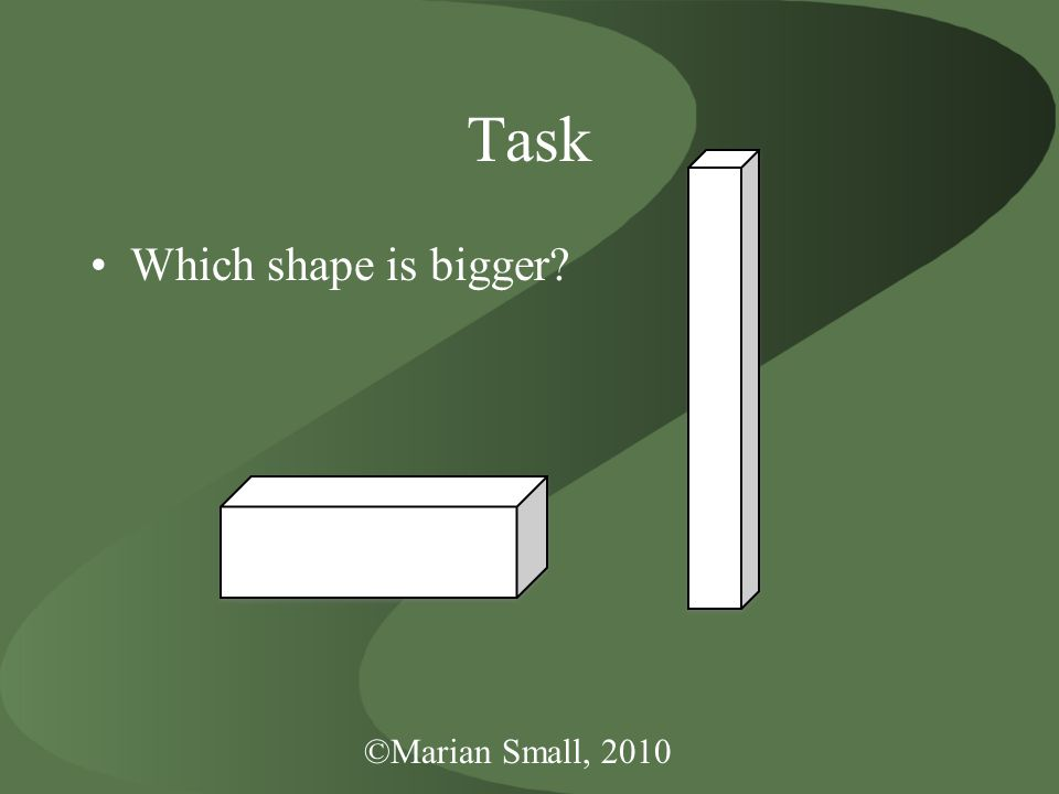 ©Marian Small, 2010 Task Which shape is bigger
