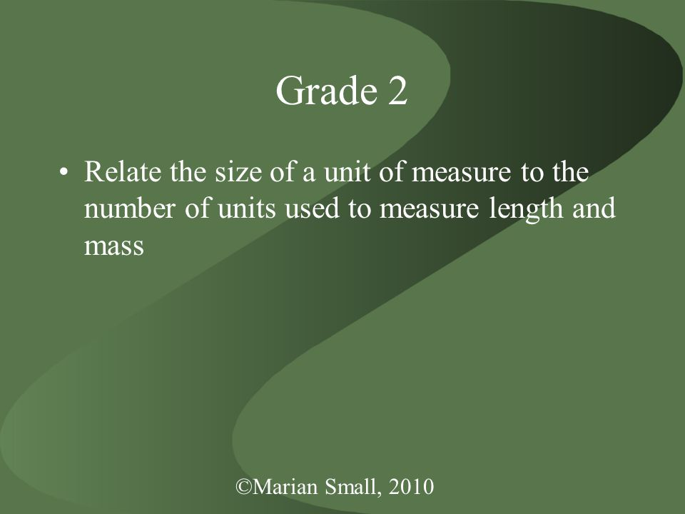Grade 2 Relate the size of a unit of measure to the number of units used to measure length and mass