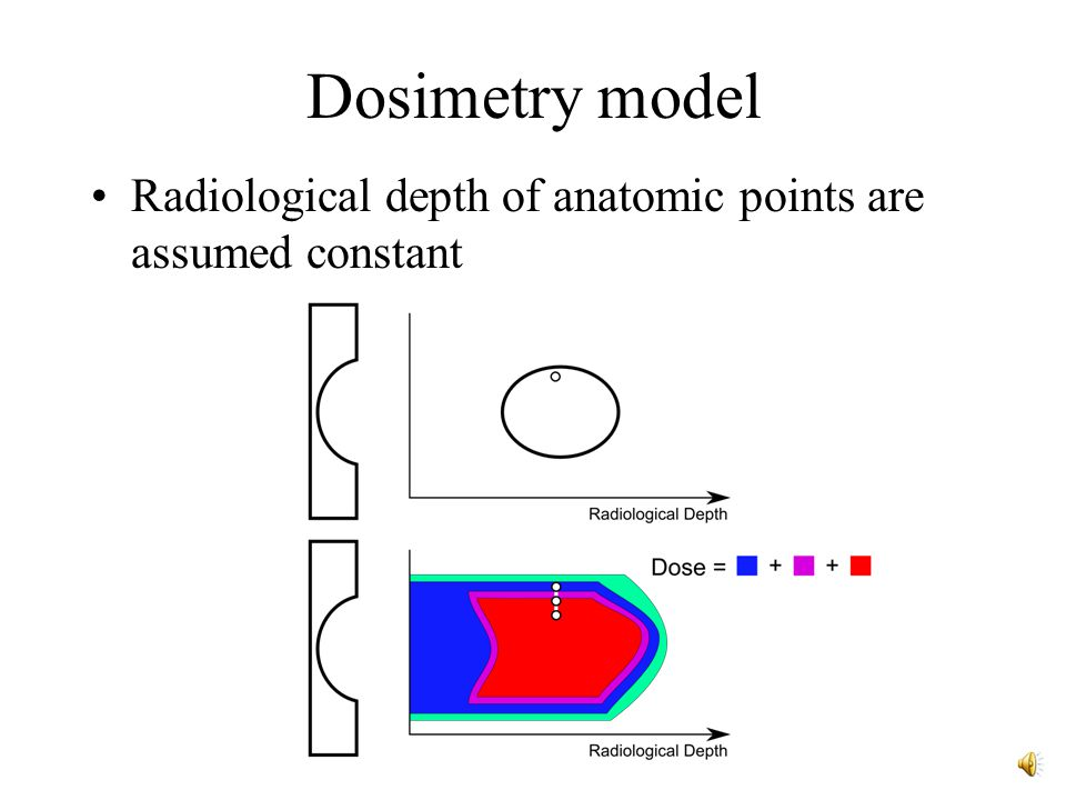 Dosimetry model Modified geometric dose model –Use radiological depth instead of position
