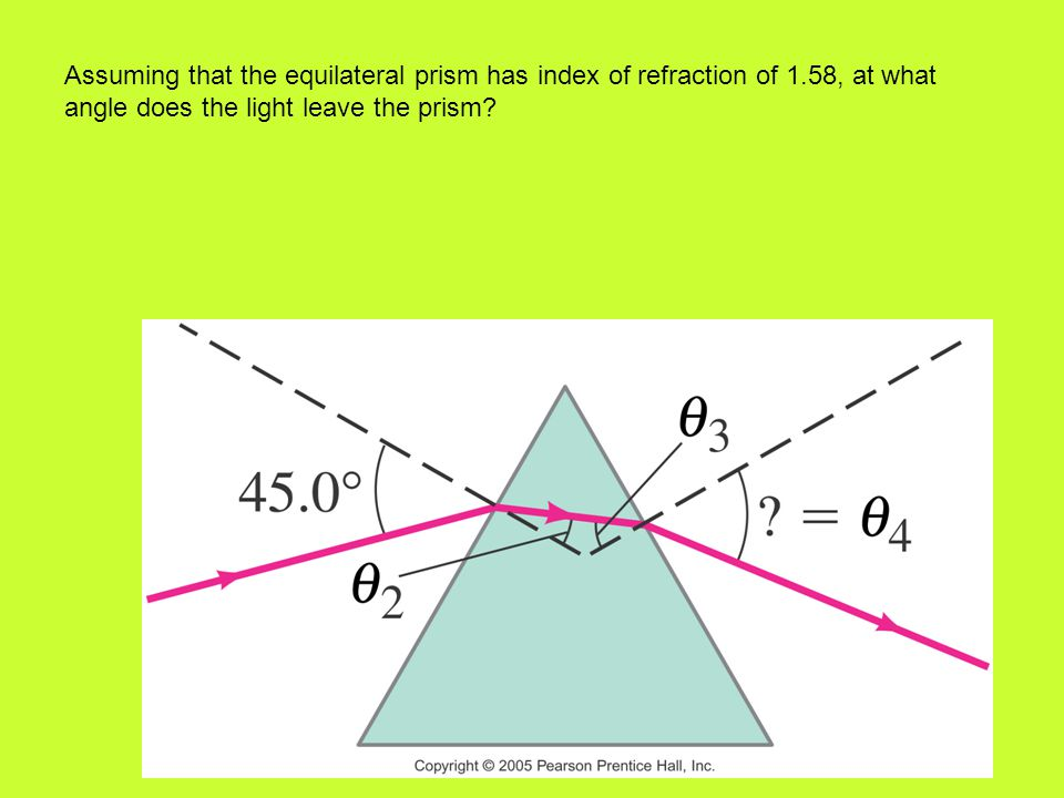 Assuming that the equilateral prism has index of refraction of 1.58, at what angle does the light leave the prism?