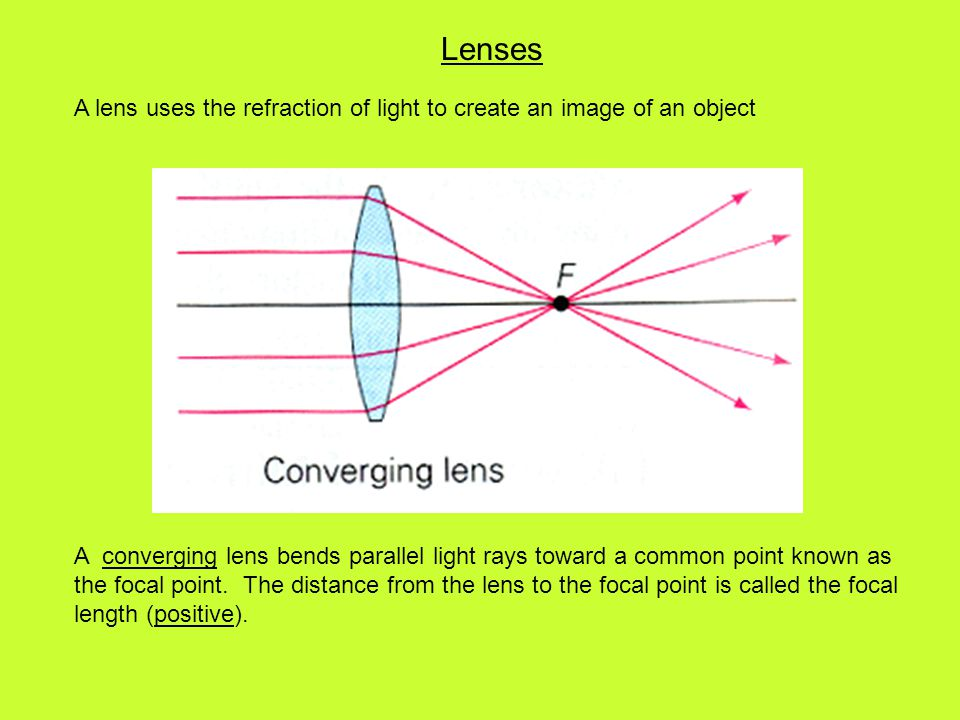Lenses A lens uses the refraction of light to create an image of an object A converging lens bends parallel light rays toward a common point known as the focal point.