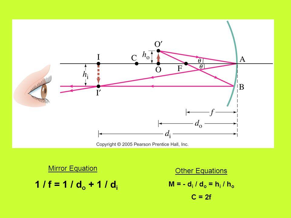 Mirror Equation 1 / f = 1 / d o + 1 / d i Other Equations M = - d i / d o = h i / h o C = 2f
