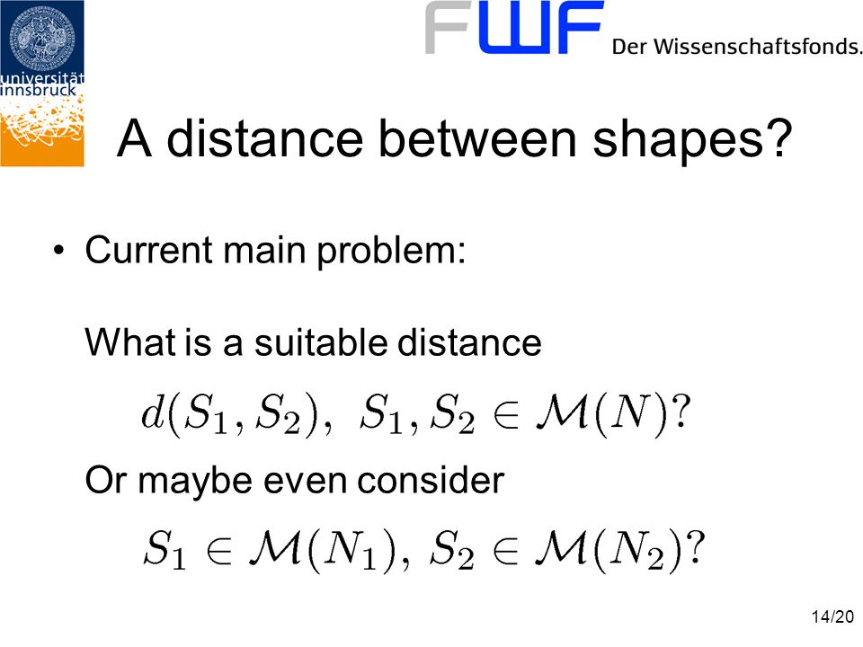 14/20 A distance between shapes.