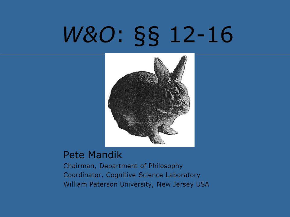 W&O: §§ 12-16 Pete Mandik Chairman, Department of Philosophy Coordinator, Cognitive Science Laboratory William Paterson University, New Jersey USA
