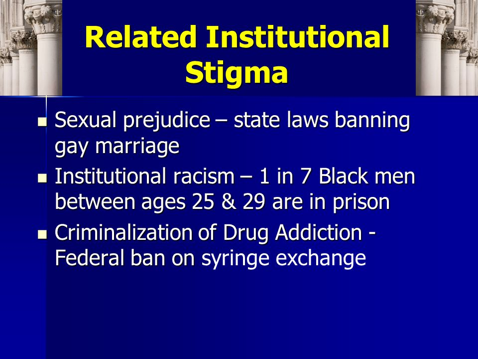 Related Institutional Stigma Sexual prejudice – state laws banning gay marriage Sexual prejudice – state laws banning gay marriage Institutional racism – 1 in 7 Black men between ages 25 & 29 are in prison Institutional racism – 1 in 7 Black men between ages 25 & 29 are in prison Criminalization of Drug Addiction - Federal ban on Criminalization of Drug Addiction - Federal ban on syringe exchange