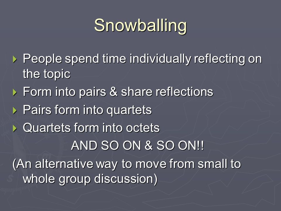 Snowballing  People spend time individually reflecting on the topic  Form into pairs & share reflections  Pairs form into quartets  Quartets form into octets AND SO ON & SO ON!.