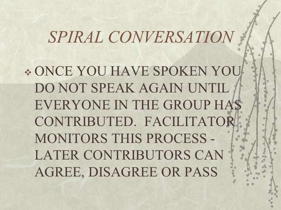 SPIRAL CONVERSATION  ONCE YOU HAVE SPOKEN YOU DO NOT SPEAK AGAIN UNTIL EVERYONE IN THE GROUP HAS CONTRIBUTED.