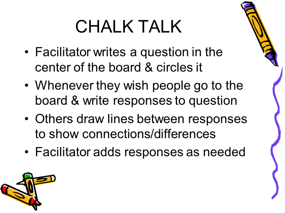 CHALK TALK Facilitator writes a question in the center of the board & circles it Whenever they wish people go to the board & write responses to question Others draw lines between responses to show connections/differences Facilitator adds responses as needed