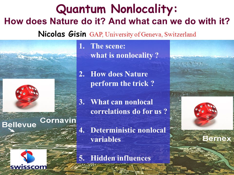 GAP Optique Geneva University 42 Principle of Continuity Explications of correlations by local common causes Explications of correlations by an event influencing another VariablesInfluences (hidden) LocalFinite speed Bell's theoremSignalling Contradiction with quantum predictions Contradiction with no faster than light communication Falsified explanation Nature doesn't satisfy the principle of continuity Nature is nonlocal This talk