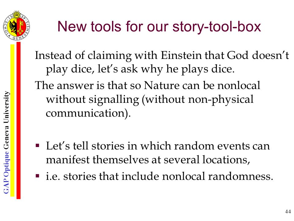 GAP Optique Geneva University 44 New tools for our story-tool-box Instead of claiming with Einstein that God doesn't play dice, let's ask why he plays dice.