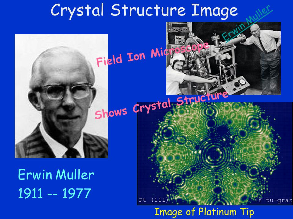 Crystal Structure Image Erwin Muller 1911 -- 1977 Erwin Muller Field Ion Microscope Image of Platinum Tip Shows Crystal Structure
