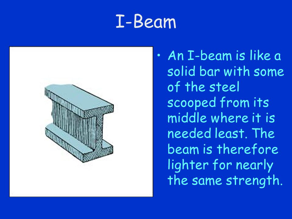 I-Beam An I-beam is like a solid bar with some of the steel scooped from its middle where it is needed least. The beam is therefore lighter for nearly