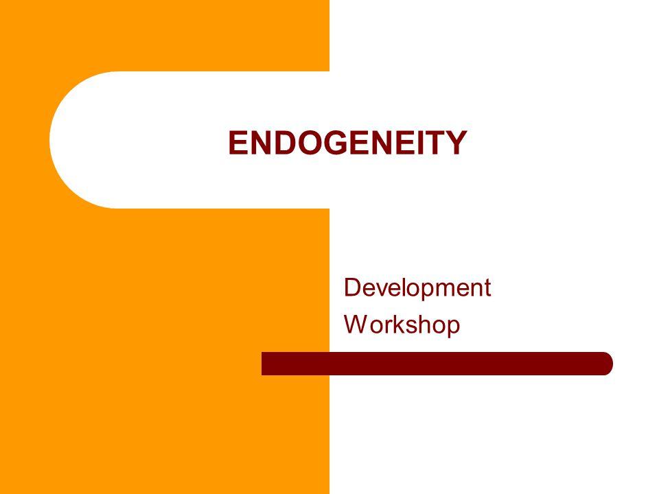 ENDOGENEITY Development Workshop