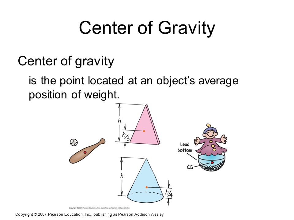 Copyright © 2007 Pearson Education, Inc., publishing as Pearson Addison Wesley Center of Gravity Center of gravity is the point located at an object's average position of weight.