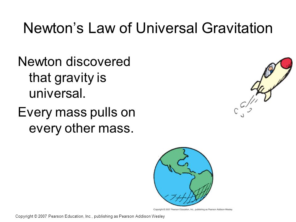 Copyright © 2007 Pearson Education, Inc., publishing as Pearson Addison Wesley Newton's Law of Universal Gravitation Newton discovered that gravity is