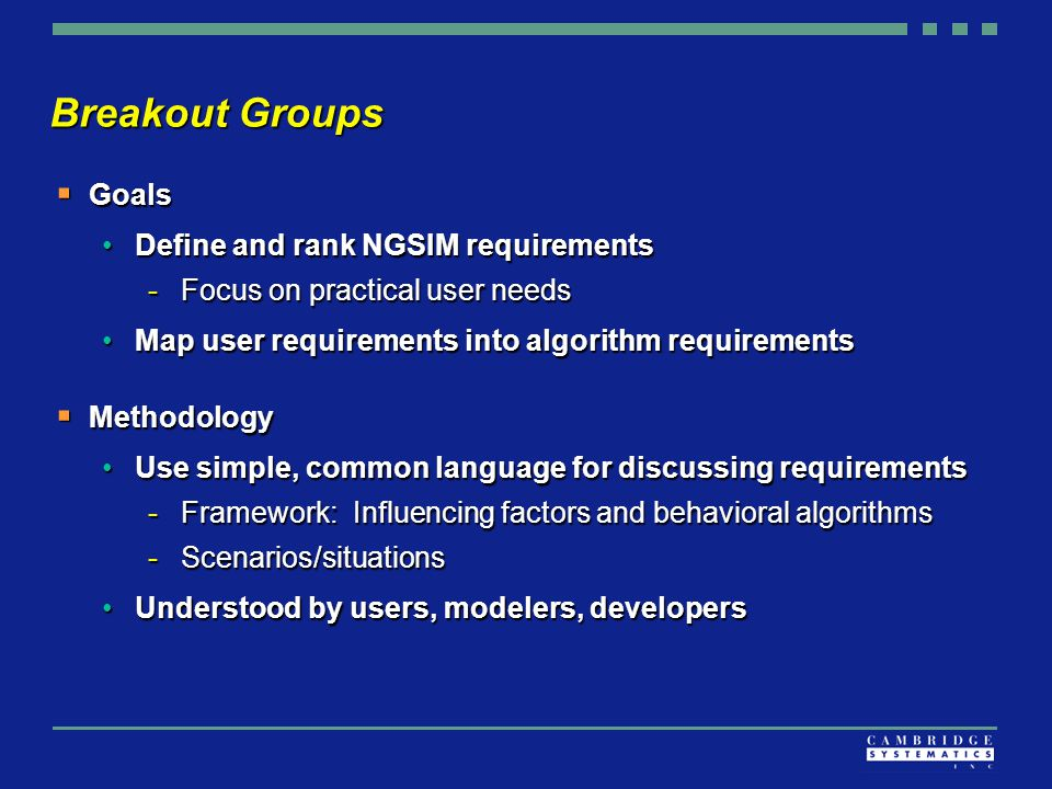 Breakout Groups  Goals Define and rank NGSIM requirementsDefine and rank NGSIM requirements -Focus on practical user needs Map user requirements into