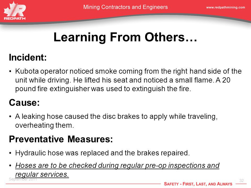 32 September 2011 Learning From Others… Incident: Kubota operator noticed smoke coming from the right hand side of the unit while driving.