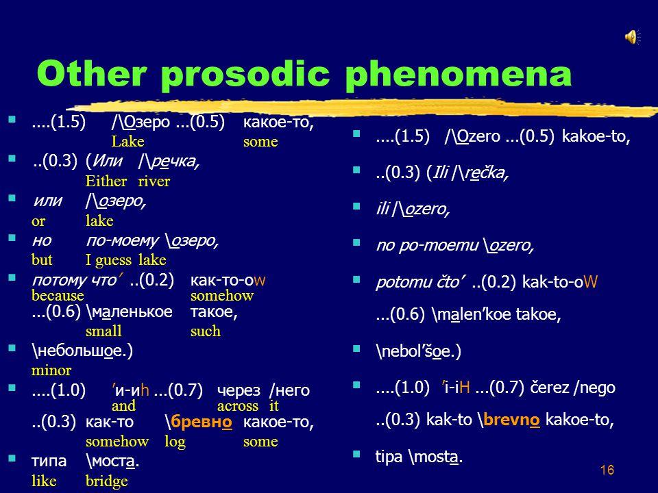 16 Other prosodic phenomena ....(1.5)/\Озеро...(0.5)какое-то, Lakesome ..(0.3) (Или /\речка, Eitherriver  или /\озеро, orlake  но по-моему \озеро, butI guesslake  потому что'..(0.2)как-то-оw becausesomehow...(0.6)\маленькоетакое, smallsuch  \небольшое.) minor ....(1.0)'и-иh...(0.7)через/него andacrossit..(0.3)как-то\бревнокакое-то, somehowlogsome  типа\моста.